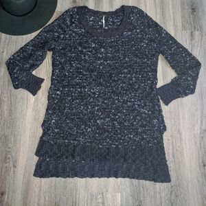 Free People Blue & Black Nubby Knit Sweater XS